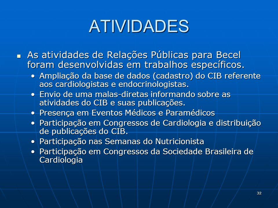 32 ATIVIDADES As atividades de Relações Públicas para Becel foram desenvolvidas em trabalhos específicos. As atividades de Relações Públicas para Bece