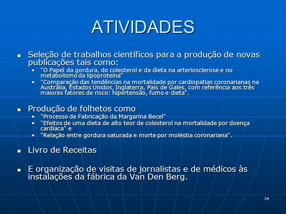 34 ATIVIDADES Seleção de trabalhos científicos para a produção de novas publicações tais como: Seleção de trabalhos científicos para a produção de nov