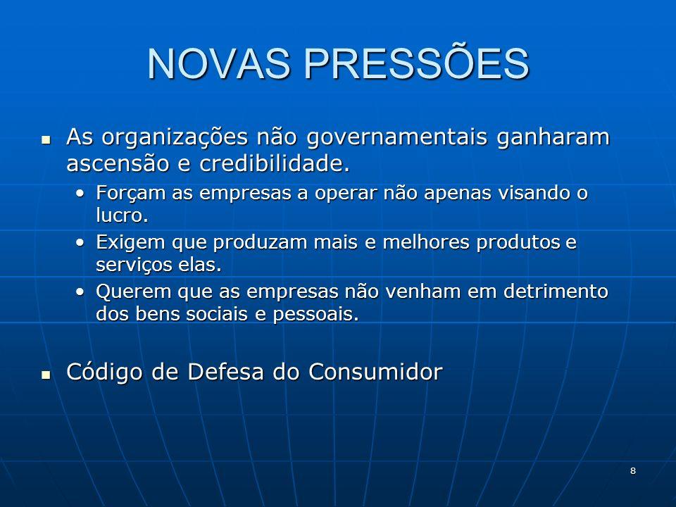 8 NOVAS PRESSÕES As organizações não governamentais ganharam ascensão e credibilidade. As organizações não governamentais ganharam ascensão e credibil