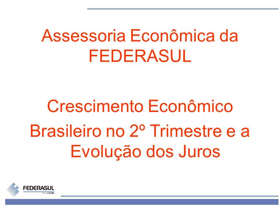 1 Assessoria Econômica da FEDERASUL Crescimento Econômico Brasileiro no 2º Trimestre e a Evolução dos Juros