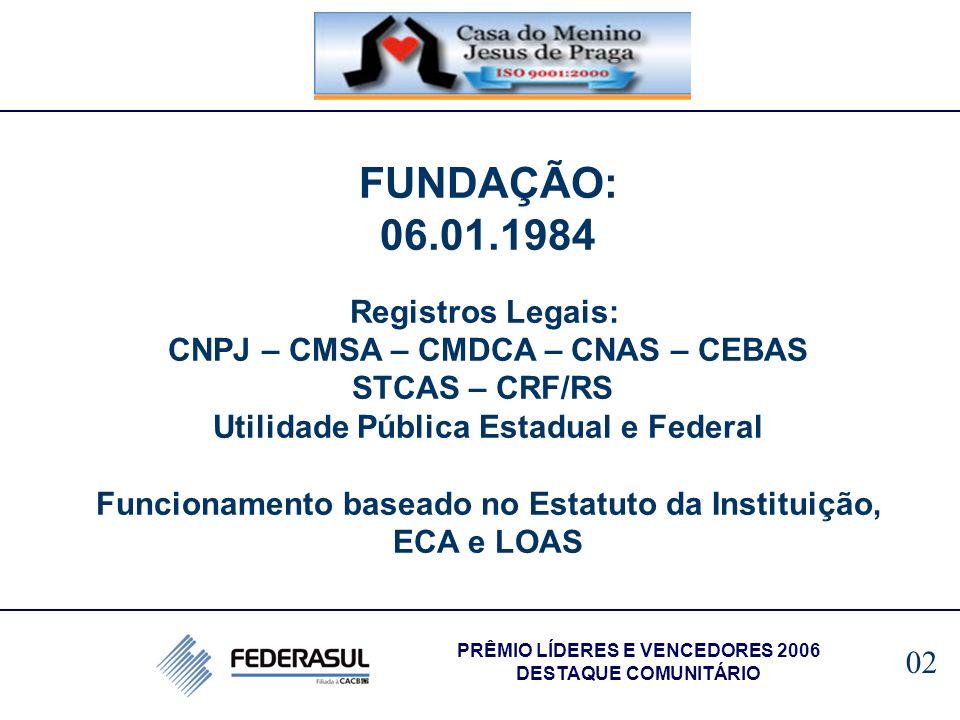 FUNDAÇÃO: 06.01.1984 Registros Legais: CNPJ – CMSA – CMDCA – CNAS – CEBAS STCAS – CRF/RS Utilidade Pública Estadual e Federal Funcionamento baseado no
