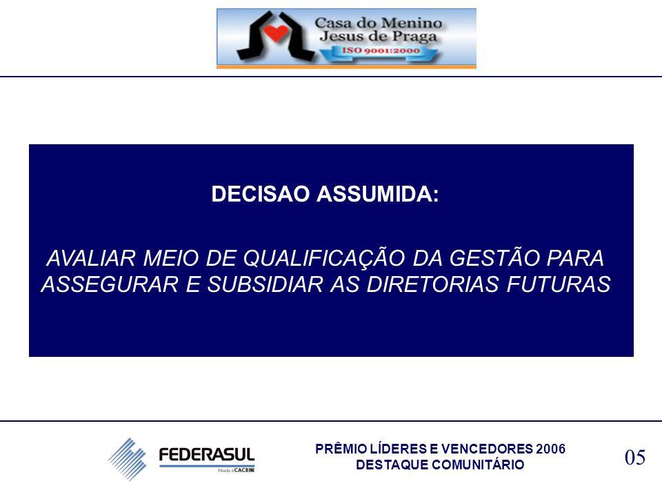 DECISAO ASSUMIDA: AVALIAR MEIO DE QUALIFICAÇÃO DA GESTÃO PARA ASSEGURAR E SUBSIDIAR AS DIRETORIAS FUTURAS 05 PRÊMIO LÍDERES E VENCEDORES 2006 DESTAQUE