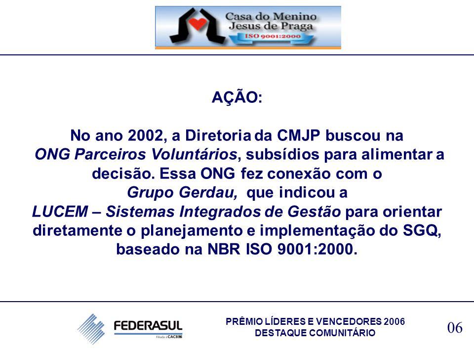 AÇÃO: No ano 2002, a Diretoria da CMJP buscou na ONG Parceiros Voluntários, subsídios para alimentar a decisão. Essa ONG fez conexão com o Grupo Gerda