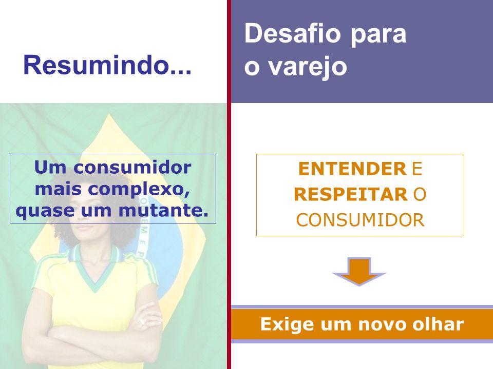 ENTENDER E RESPEITAR O CONSUMIDOR Um consumidor mais complexo, quase um mutante.