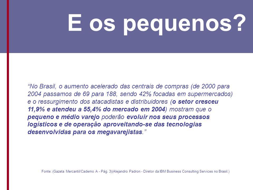 No Brasil, o aumento acelerado das centrais de compras (de 2000 para 2004 passamos de 69 para 188, sendo 42% focadas em supermercados) e o ressurgimento dos atacadistas e distribuidores (o setor cresceu 11,9% e atendeu a 55,4% do mercado em 2004) mostram que o pequeno e médio varejo poderão evoluir nos seus processos logísticos e de operação aproveitando-se das tecnologias desenvolvidas para os megavarejistas.