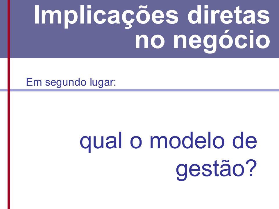 E os pequenos? Implicações diretas no negócio Em segundo lugar: qual o modelo de gestão?