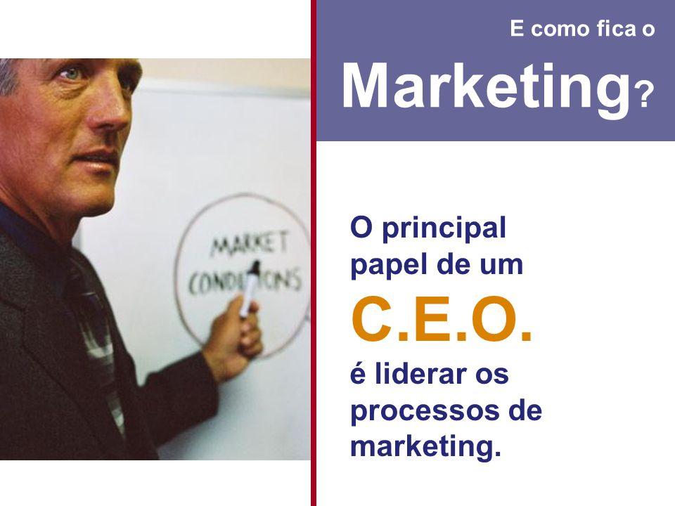 E como fica o Marketing ? O principal papel de um C.E.O. é liderar os processos de marketing.