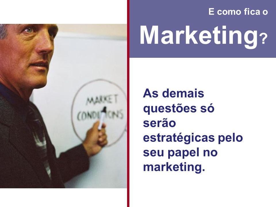 E como fica o Marketing ? As demais questões só serão estratégicas pelo seu papel no marketing.