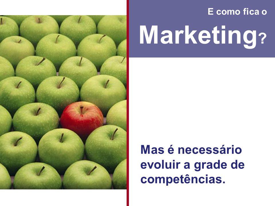 E como fica o Marketing ? Mas é necessário evoluir a grade de competências.