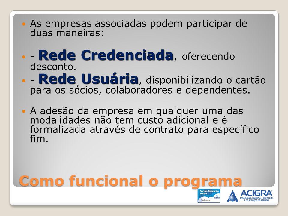 Como funcional o programa As empresas associadas podem participar de duas maneiras: Rede Credenciada - Rede Credenciada, oferecendo desconto. Rede Usu