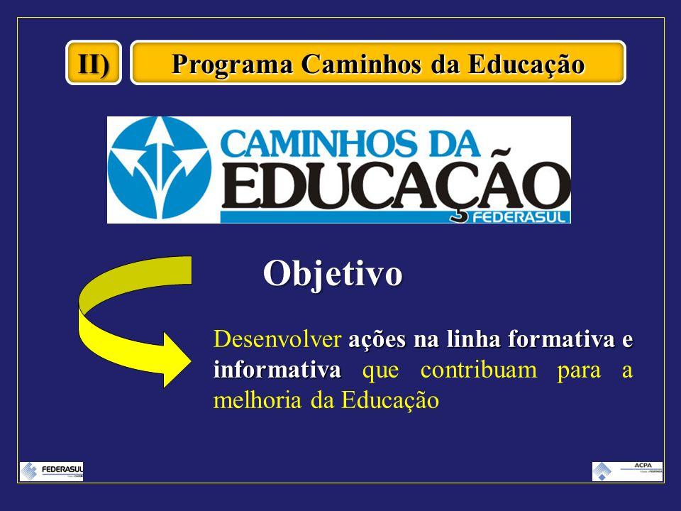 II) Programa Caminhos da Educação Objetivo ações na linha formativa e informativa Desenvolver ações na linha formativa e informativa que contribuam pa