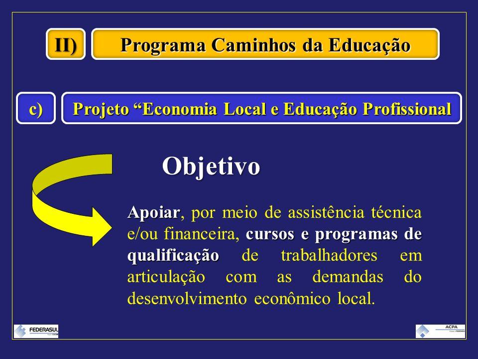 II) Programa Caminhos da Educação Projeto Economia Local e Educação Profissional c) Objetivo Apoiar cursos e programas de qualificação Apoiar, por mei