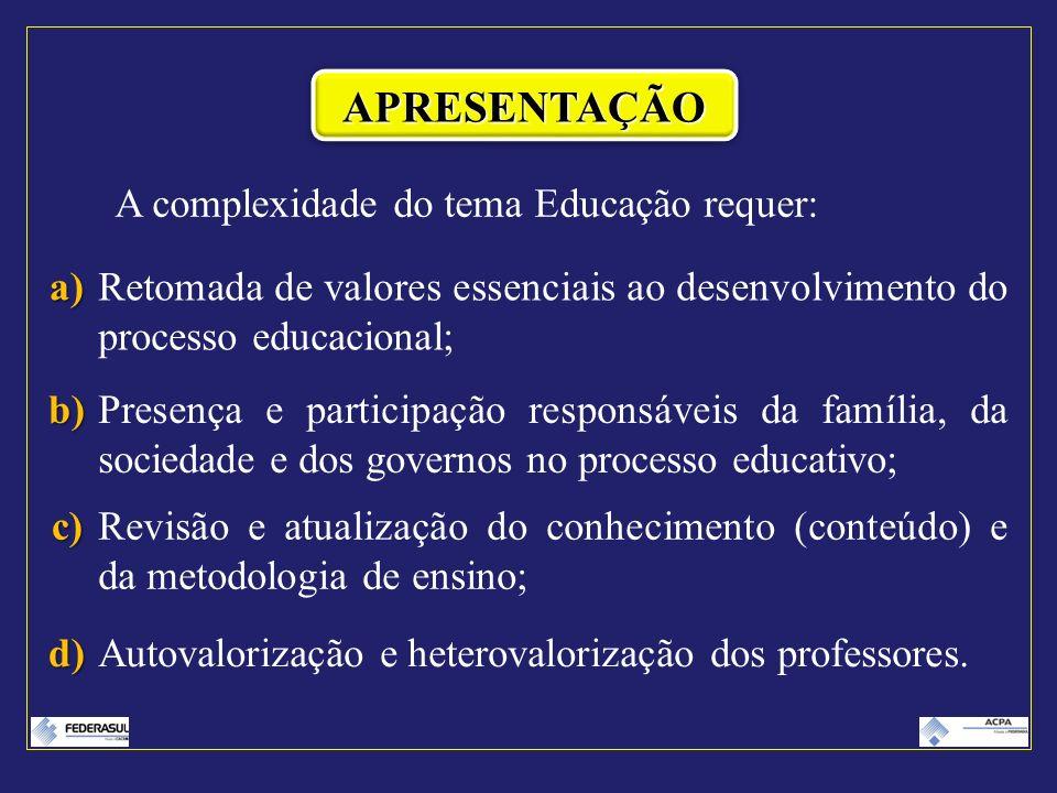 A complexidade do tema Educação requer: a)Retomada de valores essenciais ao desenvolvimento do processo educacional; b)Presença e participação respons