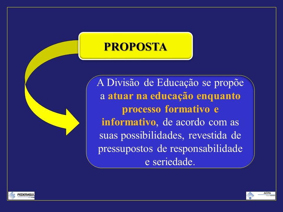 PROPOSTAPROPOSTA A Divisão de Educação se propõe a atuar na educação enquanto processo formativo e informativo, de acordo com as suas possibilidades,