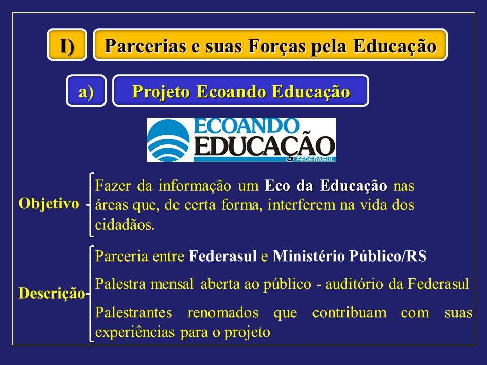 I) Parcerias e suas Forças pela Educação Projeto Ecoando Educação a) Objetivo Eco da Educação Fazer da informação um Eco da Educação nas áreas que, de
