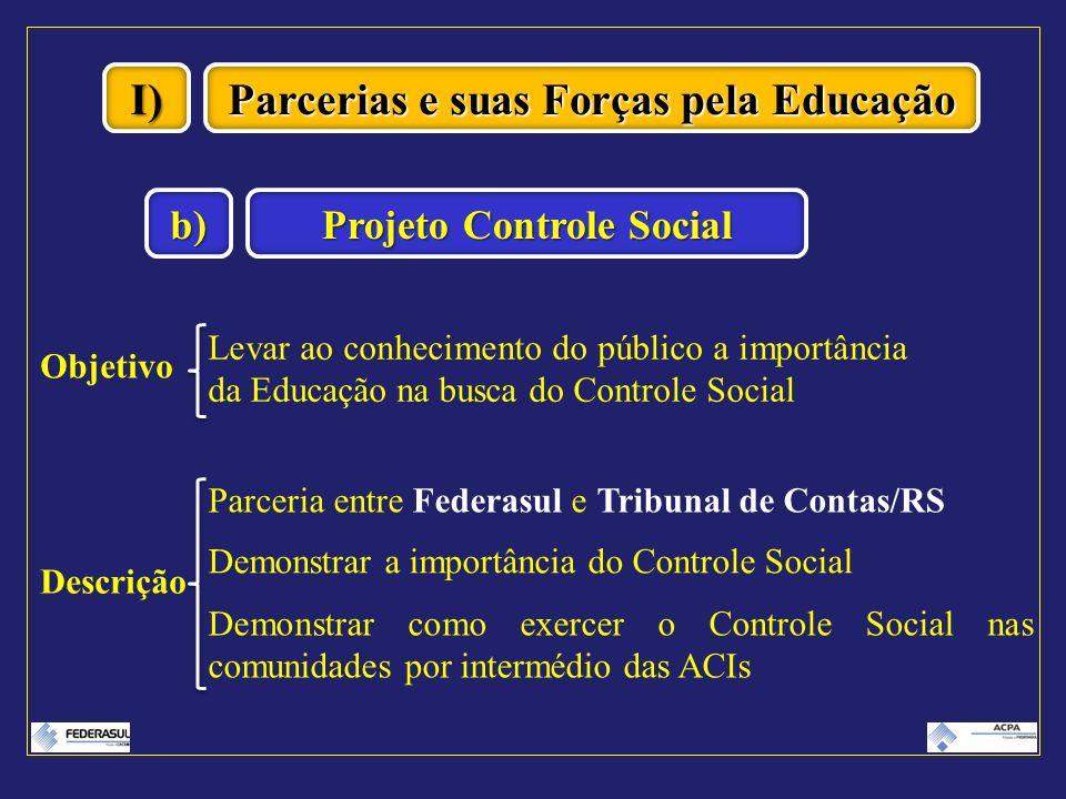 I) Projeto Controle Social b) Objetivo Levar ao conhecimento do público a importância da Educação na busca do Controle Social Descrição Parceria entre