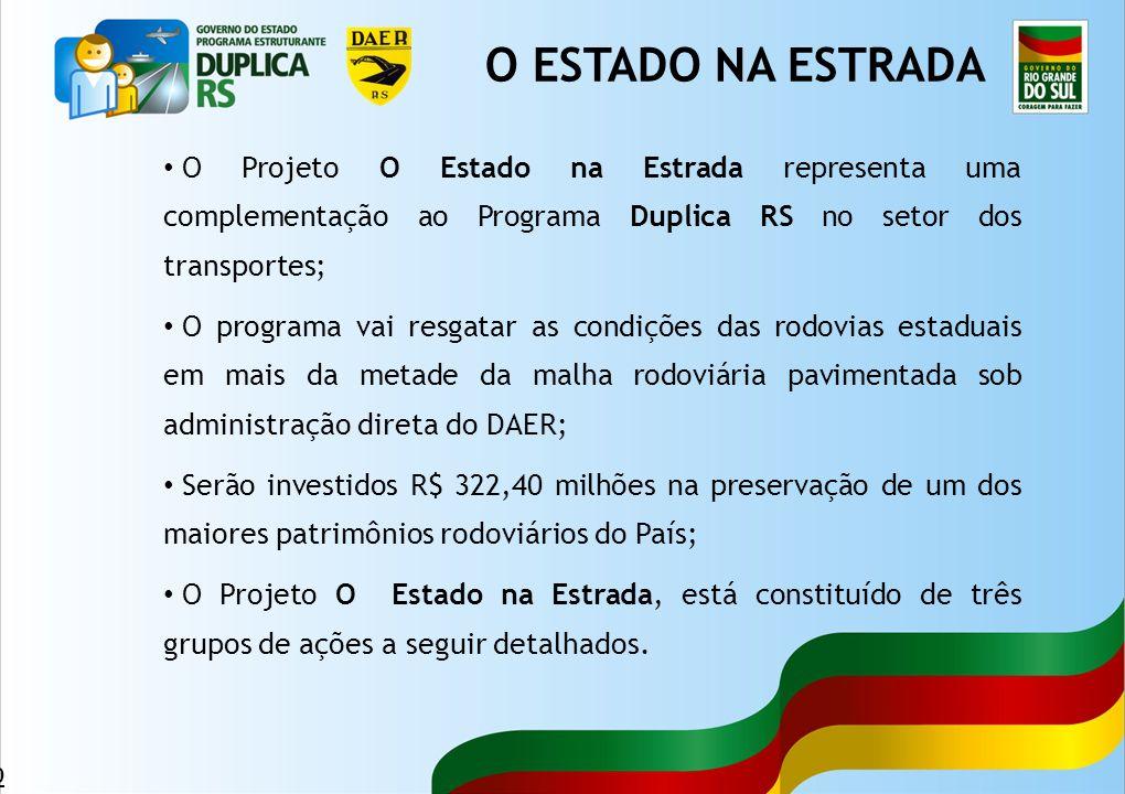 10 O Projeto O Estado na Estrada representa uma complementação ao Programa Duplica RS no setor dos transportes; O programa vai resgatar as condições d