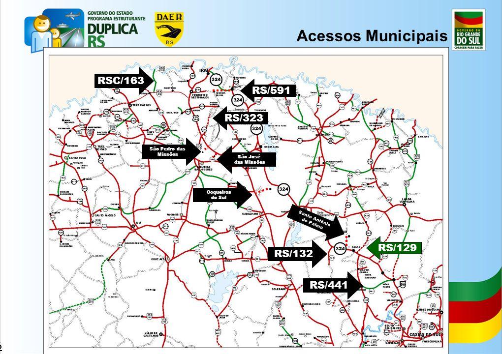 26 Acessos Municipais RS/323 RS/591 São José das Missões São Pedro das Missões RS/129 Coqueiros do Sul RSC/163 RS/441 RS/132 Santo Antônio do Palma