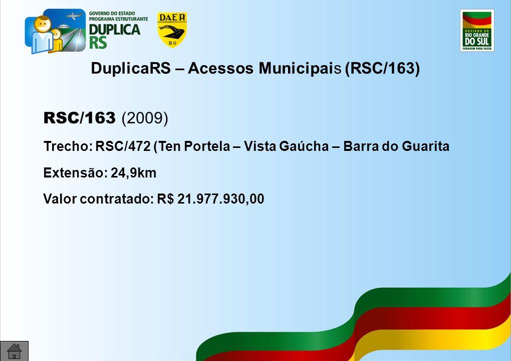 36 DuplicaRS – Acessos Municipais (RSC/163) RSC/163 (2009) Trecho: RSC/472 (Ten Portela – Vista Gaúcha – Barra do Guarita Extensão: 24,9km Valor contratado: R$ 21.977.930,00