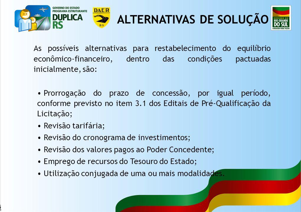 45 As possíveis alternativas para restabelecimento do equilíbrio econômico-financeiro, dentro das condições pactuadas inicialmente, são: Prorrogação d