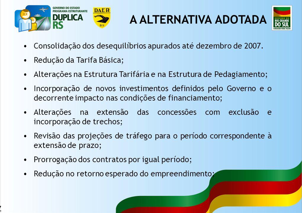 47 Consolidação dos desequilíbrios apurados até dezembro de 2007. Redução da Tarifa Básica; Alterações na Estrutura Tarifária e na Estrutura de Pedagi