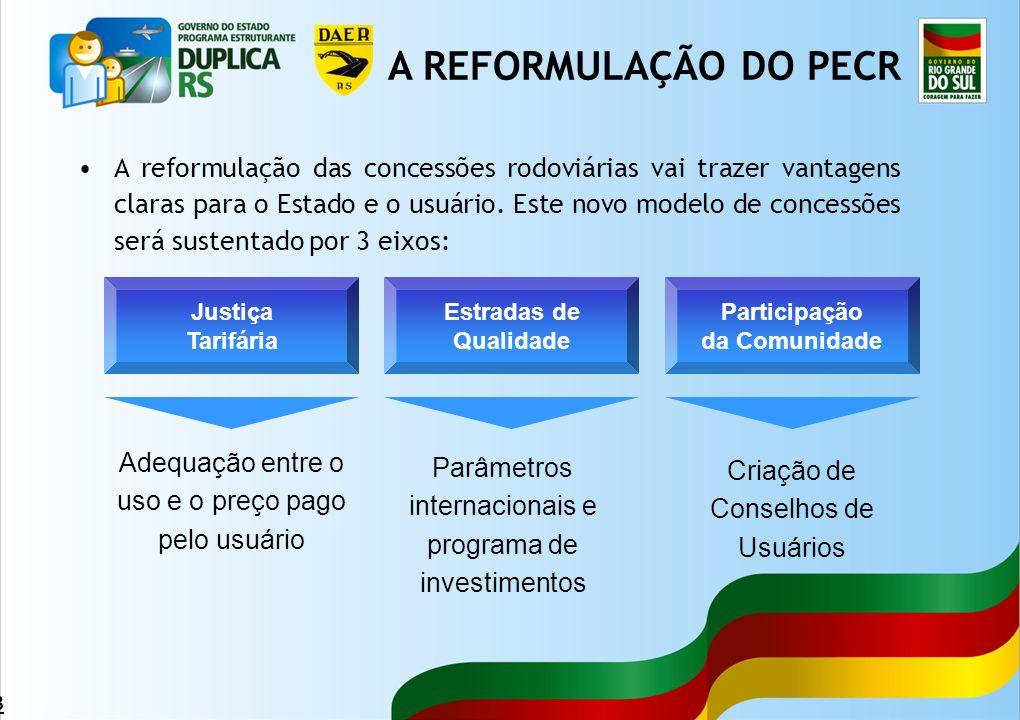 48 A reformulação das concessões rodoviárias vai trazer vantagens claras para o Estado e o usuário. Este novo modelo de concessões será sustentado por