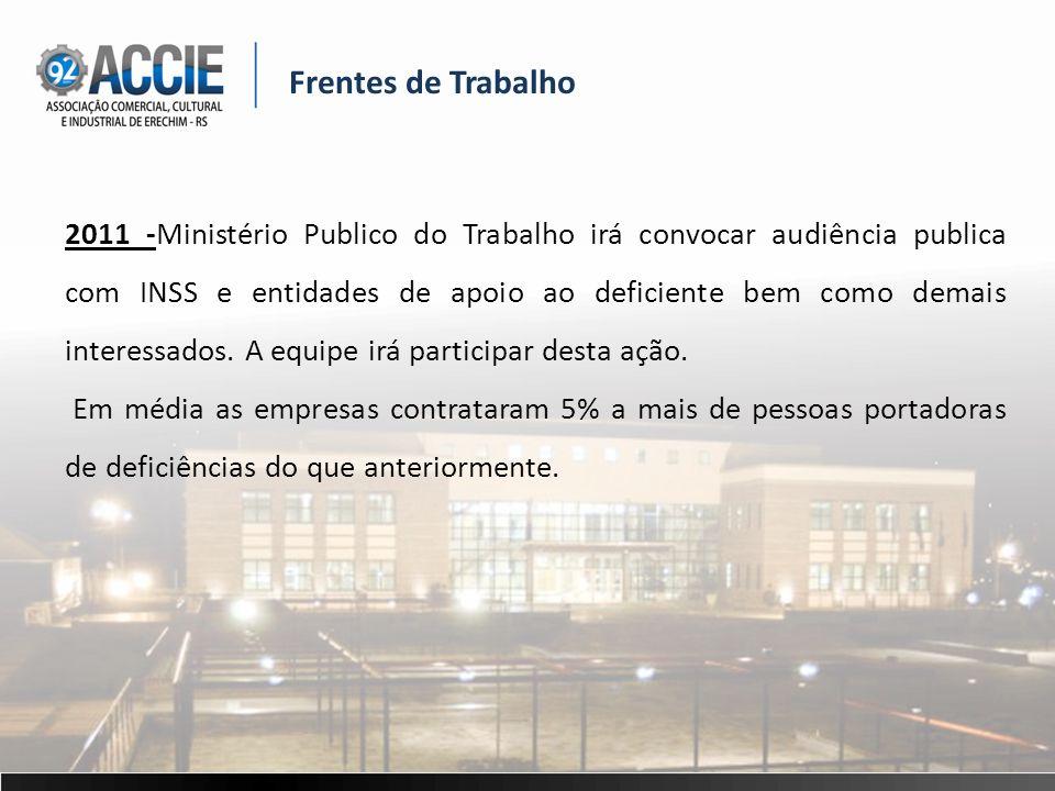 Frentes de Trabalho 2011 -Ministério Publico do Trabalho irá convocar audiência publica com INSS e entidades de apoio ao deficiente bem como demais interessados.