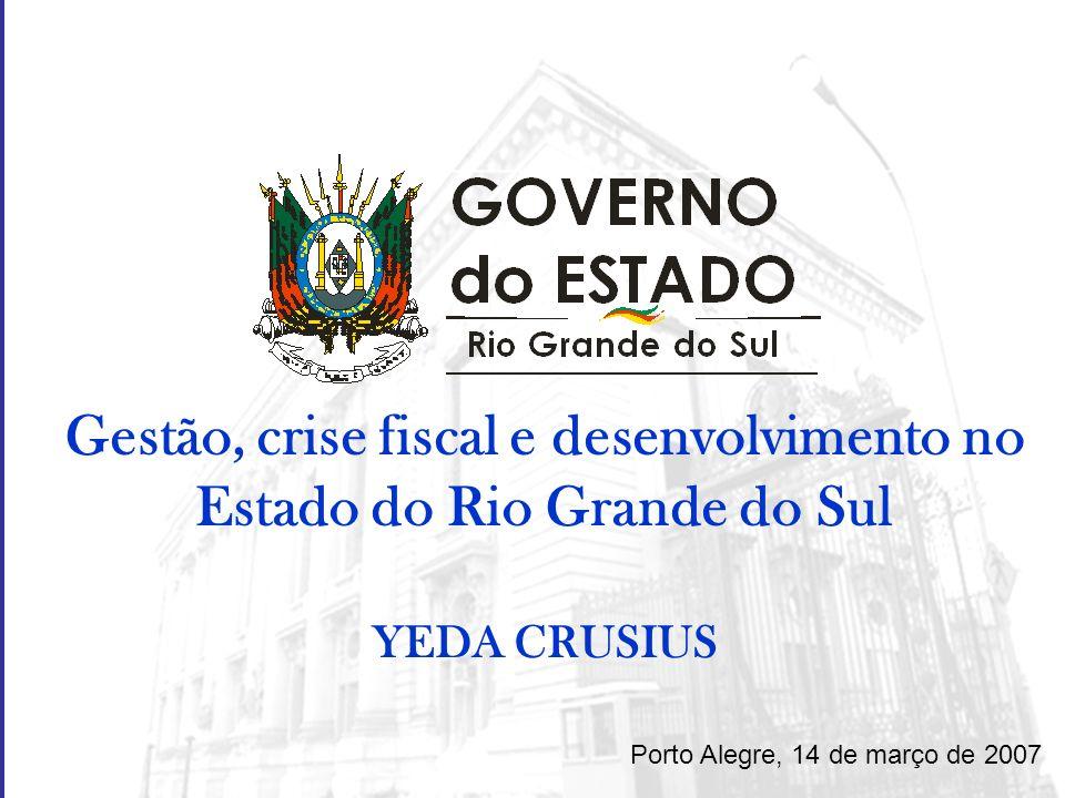 Gestão, crise fiscal e desenvolvimento no Estado do Rio Grande do Sul YEDA CRUSIUS Porto Alegre, 14 de março de 2007