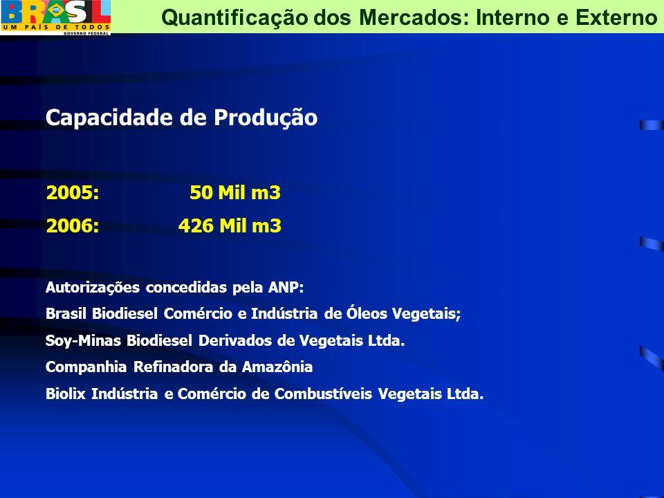 Capacidade de Produção 2005: 50 Mil m3 2006:426 Mil m3 Autorizações concedidas pela ANP: Brasil Biodiesel Comércio e Indústria de Óleos Vegetais; Soy-