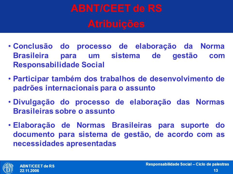 Responsabilidade Social – Ciclo de palestras 13 ABNT/CEET de RS 22.11.2006 Conclusão do processo de elaboração da Norma Brasileira para um sistema de
