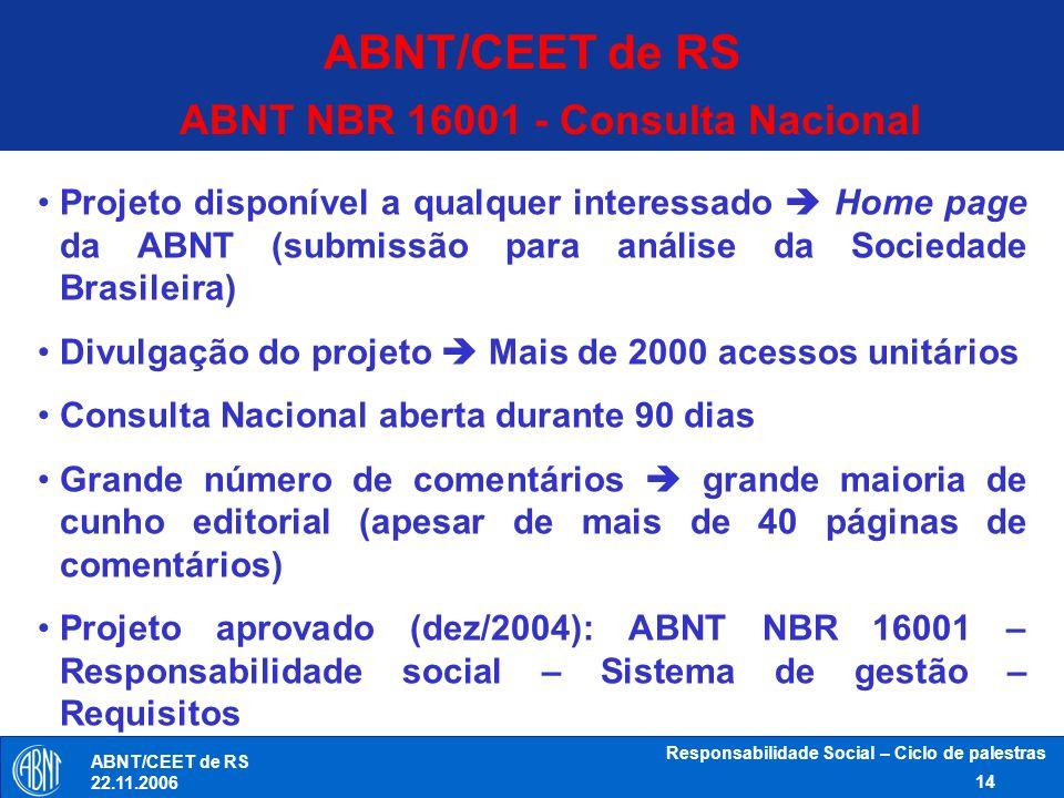 Responsabilidade Social – Ciclo de palestras 14 ABNT/CEET de RS 22.11.2006 ABNT NBR 16001 - Consulta Nacional Projeto disponível a qualquer interessad
