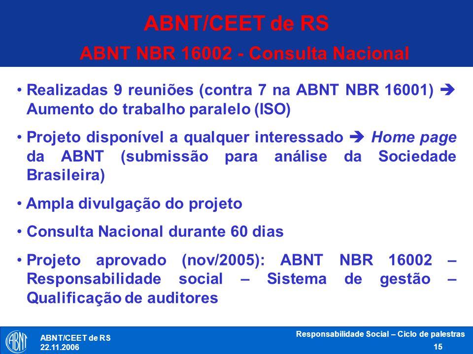 Responsabilidade Social – Ciclo de palestras 15 ABNT/CEET de RS 22.11.2006 ABNT NBR 16002 - Consulta Nacional Realizadas 9 reuniões (contra 7 na ABNT