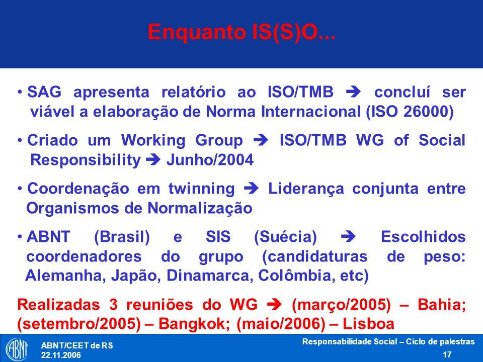 Responsabilidade Social – Ciclo de palestras 17 ABNT/CEET de RS 22.11.2006 Enquanto IS(S)O... SAG apresenta relatório ao ISO/TMB concluí ser viável a