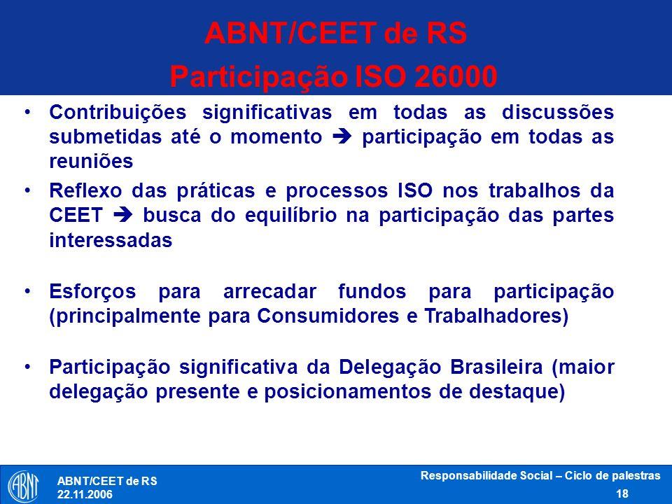 Responsabilidade Social – Ciclo de palestras 18 ABNT/CEET de RS 22.11.2006 Participação ISO 26000 Contribuições significativas em todas as discussões