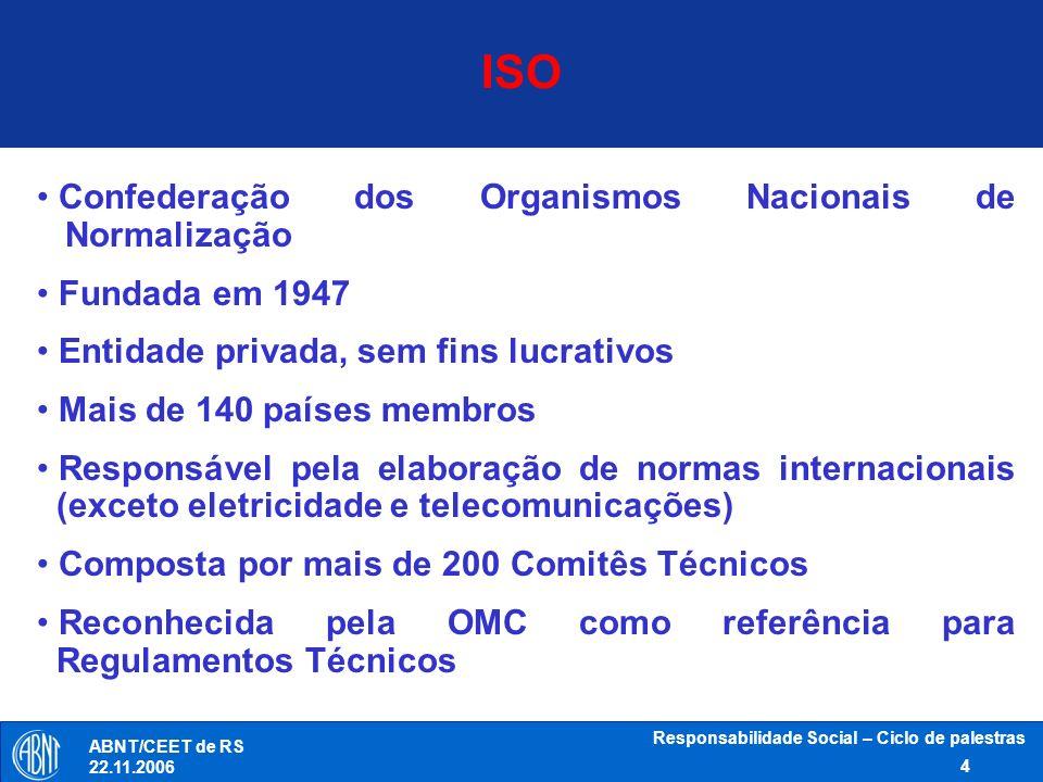 Responsabilidade Social – Ciclo de palestras 4 ABNT/CEET de RS 22.11.2006 Confederação dos Organismos Nacionais de Normalização Fundada em 1947 Entida