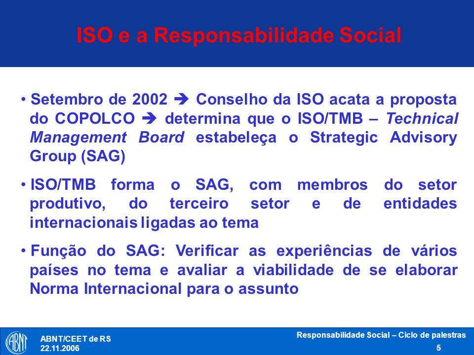Responsabilidade Social – Ciclo de palestras 5 ABNT/CEET de RS 22.11.2006 Setembro de 2002 Conselho da ISO acata a proposta do COPOLCO determina que o