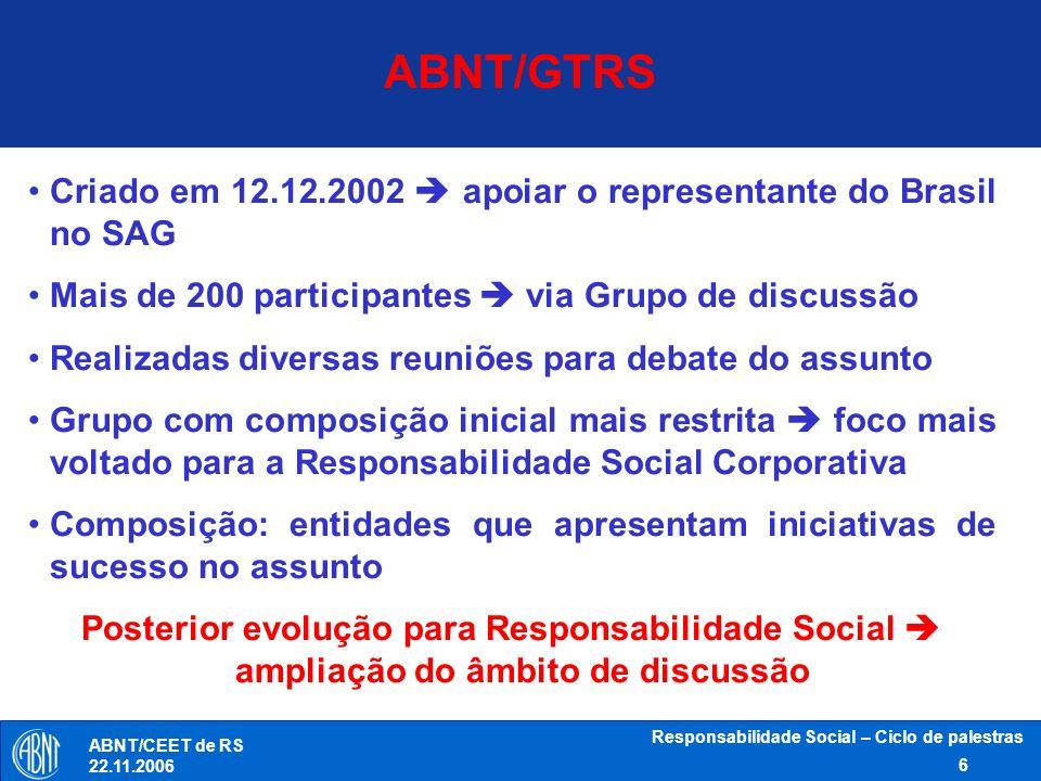 Responsabilidade Social – Ciclo de palestras 6 ABNT/CEET de RS 22.11.2006 ABNT/GTRS Criado em 12.12.2002 apoiar o representante do Brasil no SAG Mais