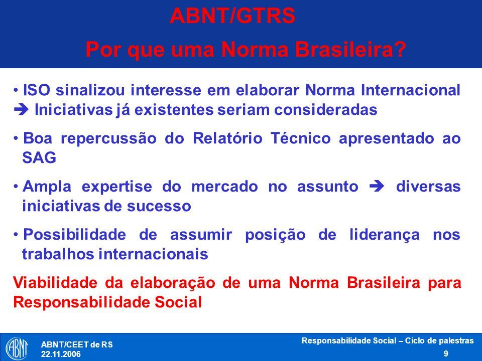 Responsabilidade Social – Ciclo de palestras 9 ABNT/CEET de RS 22.11.2006 ABNT/GTRS Por que uma Norma Brasileira? ISO sinalizou interesse em elaborar