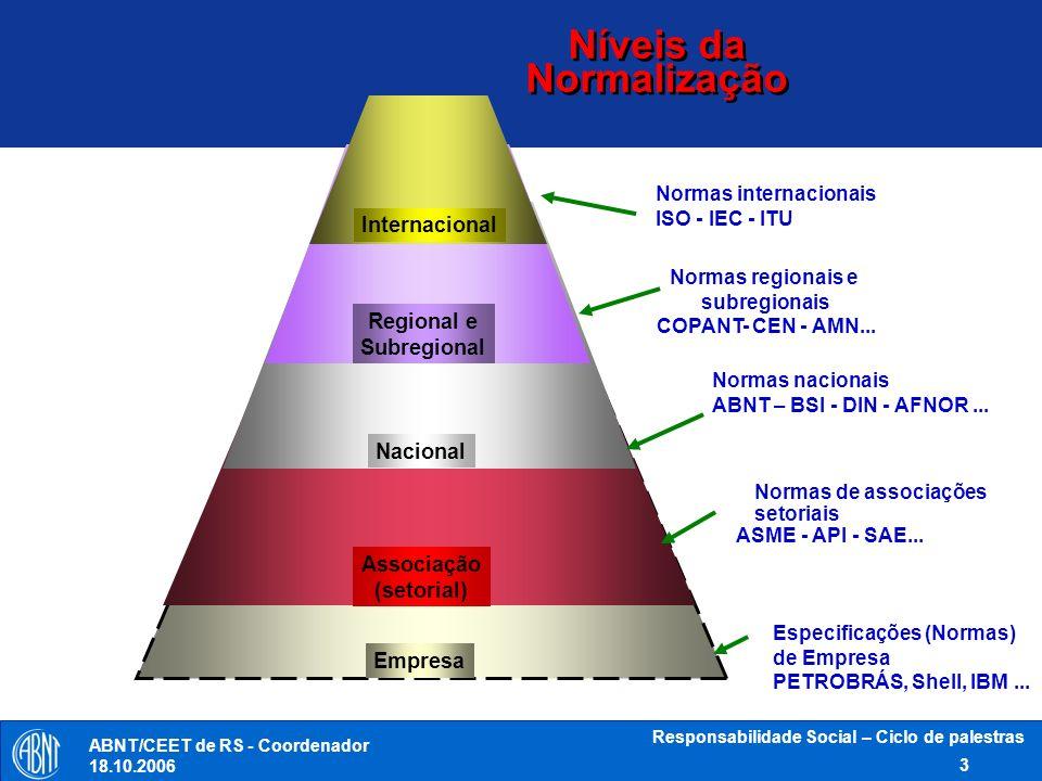 ABNT/CEET de RS - Coordenador 18.10.2006 Responsabilidade Social – Ciclo de palestras 14 Próximos Passos Preparo do WD2 até a reunião de Sidney Discussão do WD2 em Sidney Aprovação do WD2