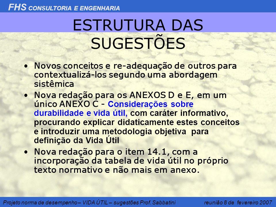 FHS CONSULTORIA E ENGENHARIA Projeto norma de desempenho – VIDA ÚTIL – sugestões Prof. Sabbatini reunião 8 de fevereiro 2007 ESTRUTURA DAS SUGESTÕES N