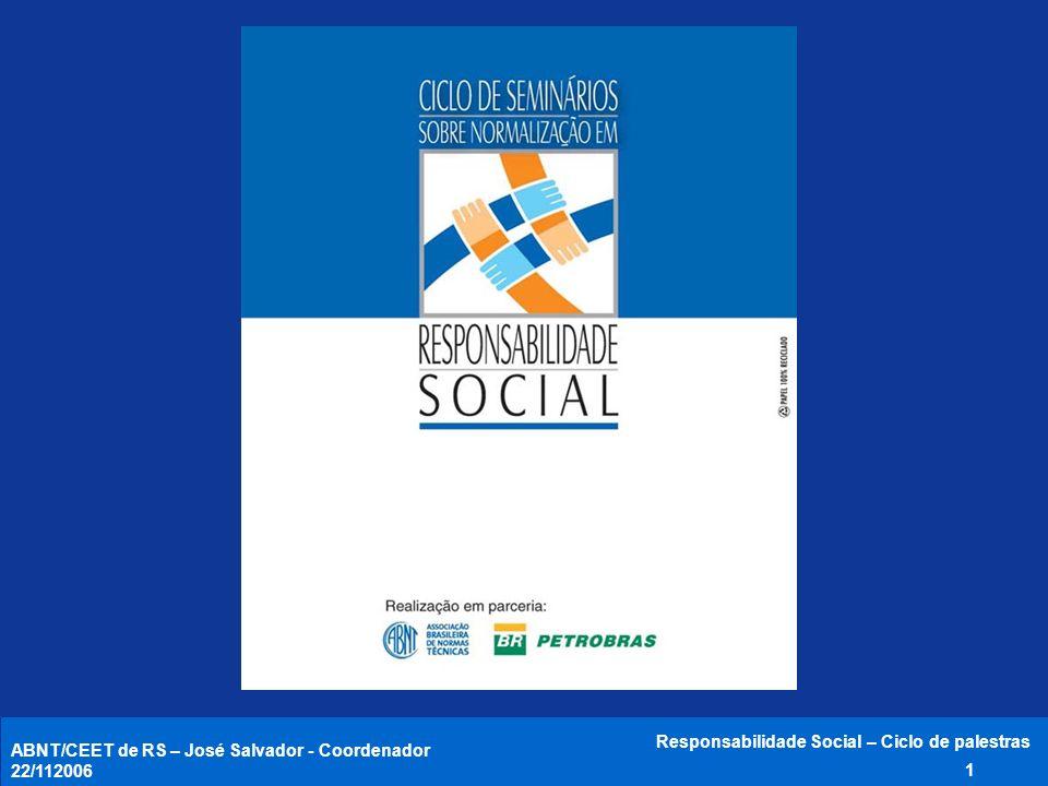 ABNT/CEET de RS – José Salvador - Coordenador 22/11/2006 Responsabilidade Social – Ciclo de palestras 12 Comprometimento da Alta Administração Política da RS 3.2 MELHORIA CONTÍNUA Recursos, regras, responsabilidade e autoridade 3.3.4 Competência, treinamento e conscientização 3.4.1 Comunicação 3.4.2 Controle operacional 3.4.3 Manual do SGRS 3.5.2 Controle de documentos 3.5.3 Controle de registros 3.5.4 Monitoramento e medição 3.6.1 Avaliação da conformidade 3.6.2 Não-conformidade e AC e AP 4.6.3 Auditoria interna 3.6.4 Análise pela Administração 3.3.5 Aspectos da RS 3.3.1 Requisitos legais e outros 3.3.2 Objetivos e metas 3.3.3 Programas 3.3.3 3.3 Planejamento 3.4 Implementação e Operação 3.6 Medição, análise e melhoria 3.5 Requisitos de documentação ABNT NBR 16001:2004 - Visão geral