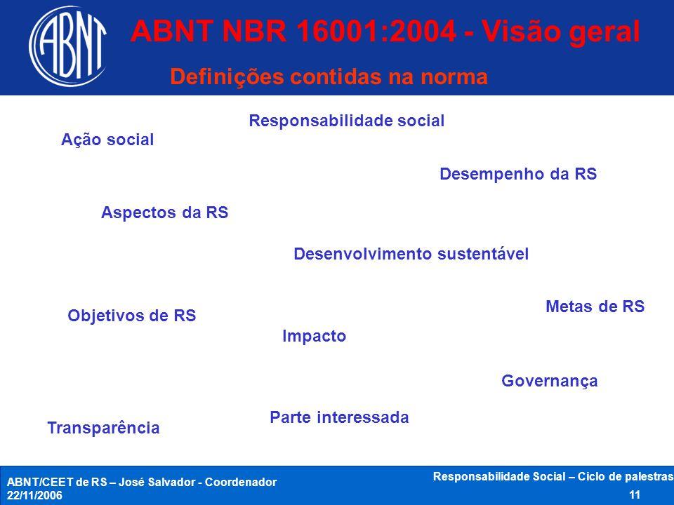 ABNT/CEET de RS – José Salvador - Coordenador 22/11/2006 Responsabilidade Social – Ciclo de palestras 11 Ação social Aspectos da RS Responsabilidade s