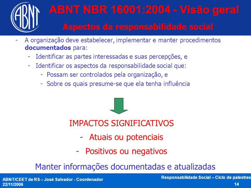 ABNT/CEET de RS – José Salvador - Coordenador 22/11/2006 Responsabilidade Social – Ciclo de palestras 14 Aspectos da responsabilidade social -A organi