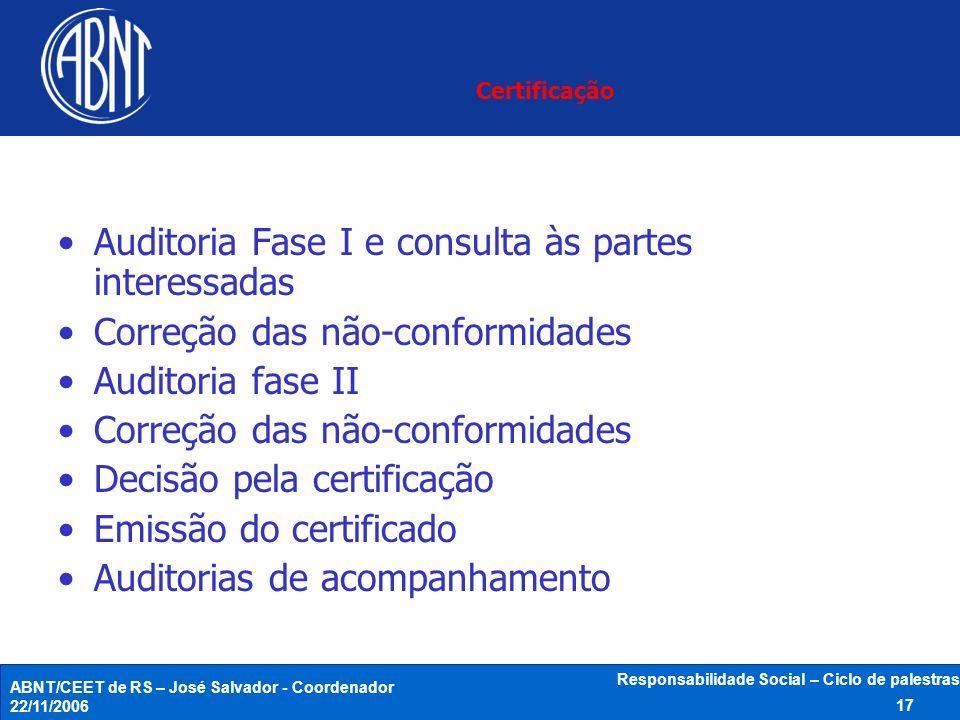 ABNT/CEET de RS – José Salvador - Coordenador 22/11/2006 Responsabilidade Social – Ciclo de palestras 17 Certificação Auditoria Fase I e consulta às p
