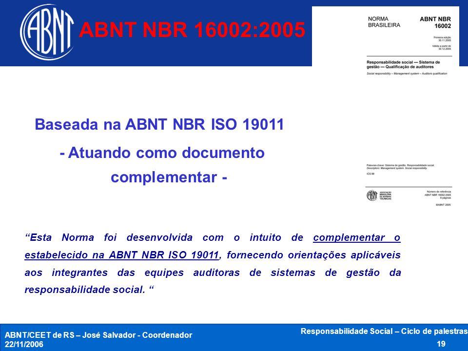 ABNT/CEET de RS – José Salvador - Coordenador 22/11/2006 Responsabilidade Social – Ciclo de palestras 19 Baseada na ABNT NBR ISO 19011 - Atuando como