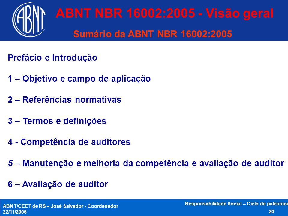 ABNT/CEET de RS – José Salvador - Coordenador 22/11/2006 Responsabilidade Social – Ciclo de palestras 20 Sumário da ABNT NBR 16002:2005 Prefácio e Int