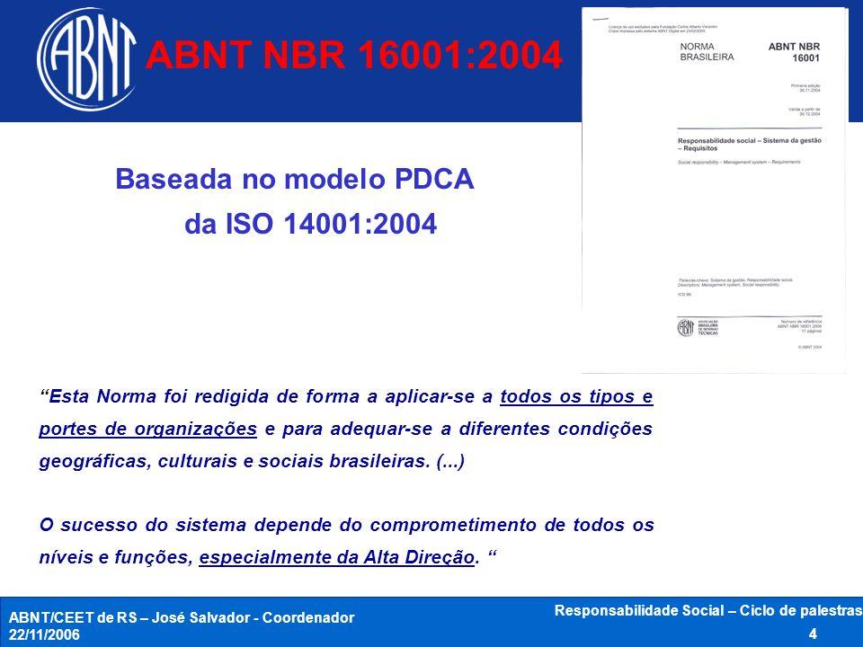 ABNT/CEET de RS – José Salvador - Coordenador 22/11/2006 Responsabilidade Social – Ciclo de palestras 15 Planejamento 3.3.1 Aspectos da RS 3.3.2 Requisitos legais e outros Requisitos financeiros Visão das Partes interessadas Opções tecnológicas Requisitos operacionais Requisitos comerciais Meio social e cultural Impactos Objetivos e Metas de RS PROGRAMAS -Responsabilidades -Meios -Prazos ABNT NBR 16001:2004 - Visão geral