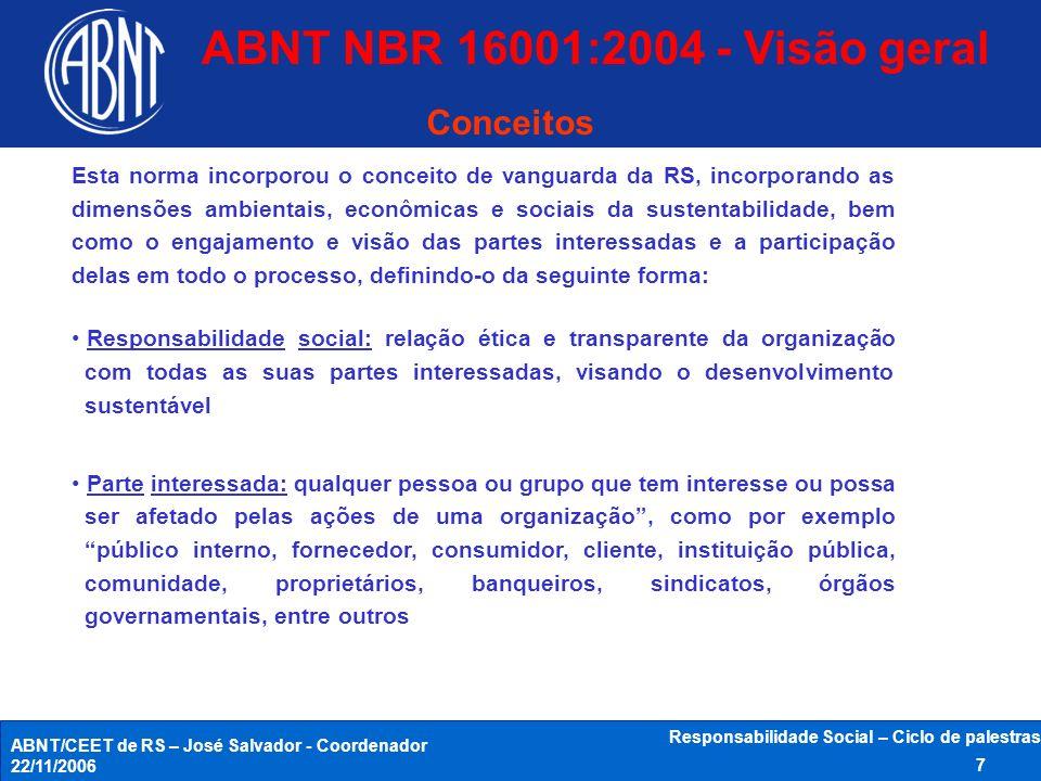 ABNT/CEET de RS – José Salvador - Coordenador 22/11/2006 Responsabilidade Social – Ciclo de palestras 18 - ABNT NBR 16002 - Responsabilidade social - Sistema de gestão - Qualificação de auditores