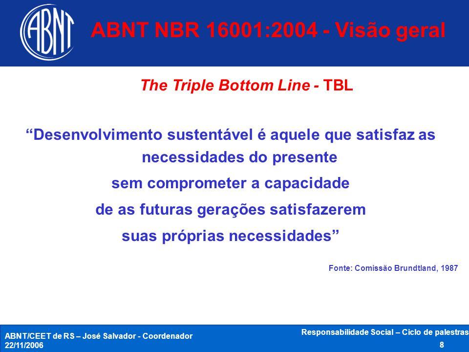 ABNT/CEET de RS – José Salvador - Coordenador 22/11/2006 Responsabilidade Social – Ciclo de palestras 8 Desenvolvimento sustentável é aquele que satis