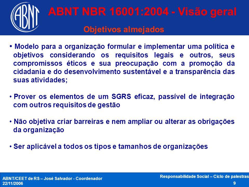 ABNT/CEET de RS – José Salvador - Coordenador 22/11/2006 Responsabilidade Social – Ciclo de palestras 9 Modelo para a organização formular e implement